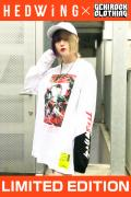 【ゲキクロ限定】 HEDWiNG Creepy-ART Big shilhouette L/S T-shirt White