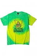 TOY MACHINE TMS19ST27 PYLAMID SECT PRINT TIE-DYE SS TEE LIME