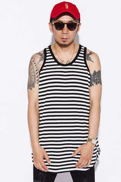 MUSIC SAVED MY LIFE (MSML) TANK TOP BORDER CUTSEW BLACK&WHITE