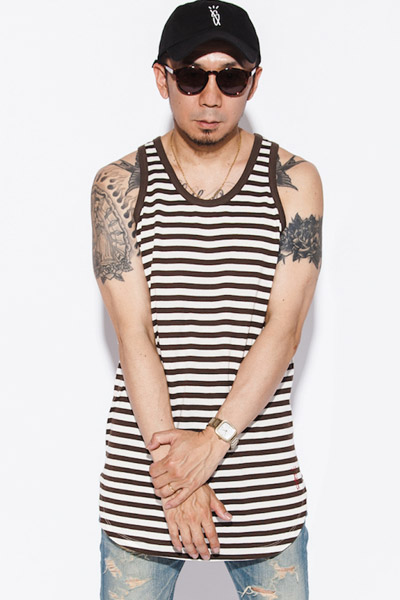 【予約商品】 MUSIC SAVED MY LIFE (MSML) TANK TOP BORDER CUTSEW KHAKI
