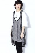 SILLENT FROM ME MIST -Net Tank Top- BLACK
