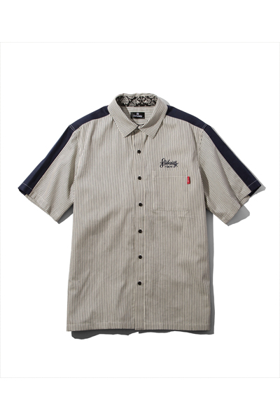 Subciety (サブサエティ) STRIPE WORK SHIRT WHITE