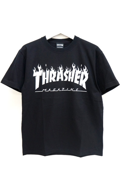 THRASHER TH8168 FLAME MAG LOGO TEE BLKxWHT