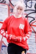 RIP DESIGN WORXX スタンダードロゴロングスリーブTシャツ RED/WHITE