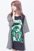 TRAVAS TOKYO ボーダー切り替え サンダークマTシャツ GREEN