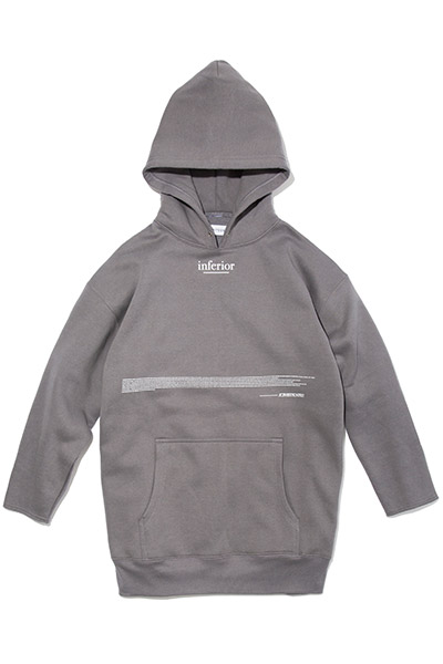 LILWHITE(dot) (リルホワイトドット) -INFERIOR- Q/S SIDE ZIP HOODIE DARK GRAY