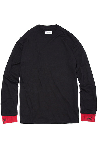 LILWHITE(dot) (リルホワイトドット) -DIRT- LAYERED LONG SLEEVE TEE BLACK/RED