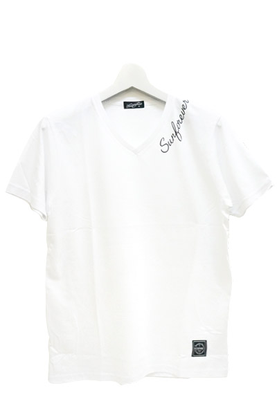 NineMicrophones V-NECK TEE S/S -INK- WHITE