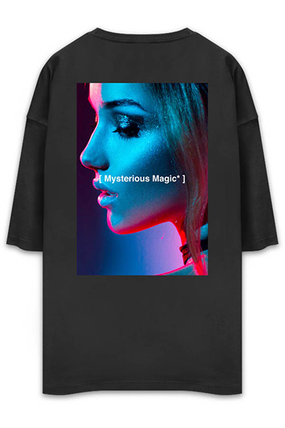 UNUSUAL MYSTERIOUS MAGIC OVERSIZED T-SHIRT BLACK