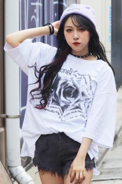 GoneR GR29CT003 Rose Messege T-Shirts White