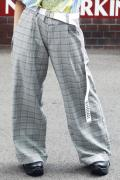 SILLENT FROM ME LAWYER -Wide Slacks- GRAY CHECK