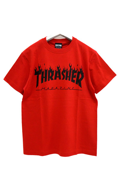 THRASHER TH8168 FLAME MAG LOGO TEE REDxBLK