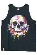 GoneR GR21TK002 Rose Earth Skull Tank-Top Black