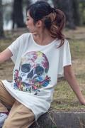 GoneR GR21LD002 Rose Earth Skull T One-Piece White