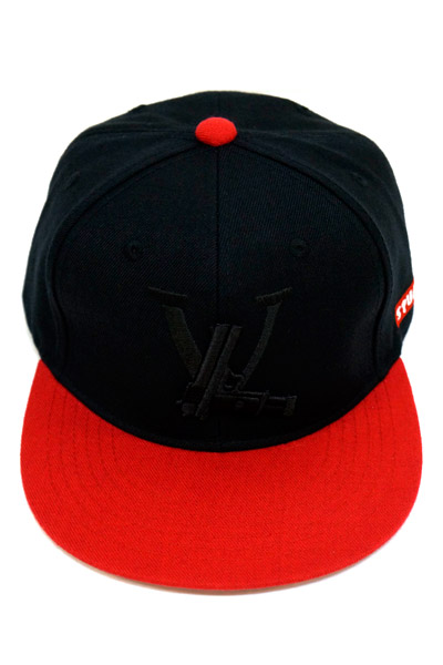SQUARE LV SNAP BACK CAP BLACK×RED