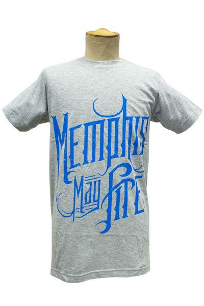MEMPHIS MAY FIRE BLUE LOGO HEATHER GREY