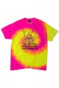 TOY MACHINE TMS19ST27 PYLAMID SECT PRINT TIE-DYE SS TEE PINK