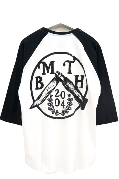 BRING ME THE HORIZON FLICK KNIFE WITH BACK PRINTING RAGRAN T-SHIRTS