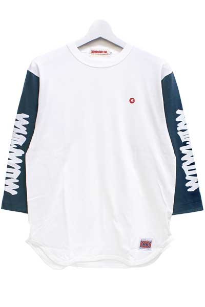 ANIMALIA AN18U-TE14 EASTERN LOGO-3/4 Sleeve WHITExDENIM