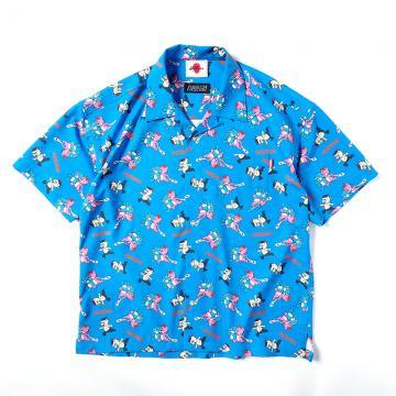 PUNK DRUNKERS [PDSxKUDAN]PUNKUDAN式 総柄ベアシャツ BLUE