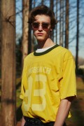 NineMicrophones PIGMENT FOOTBALL TEE YELLOW
