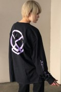 isxnot(イズノット) circleLOGO longtee Black/Purple