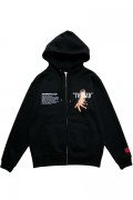 LILWHITE(dot) (リルホワイトドット) LW-18AW-S03 -TWISTED- FRONT ZIP HOODIE BLACK