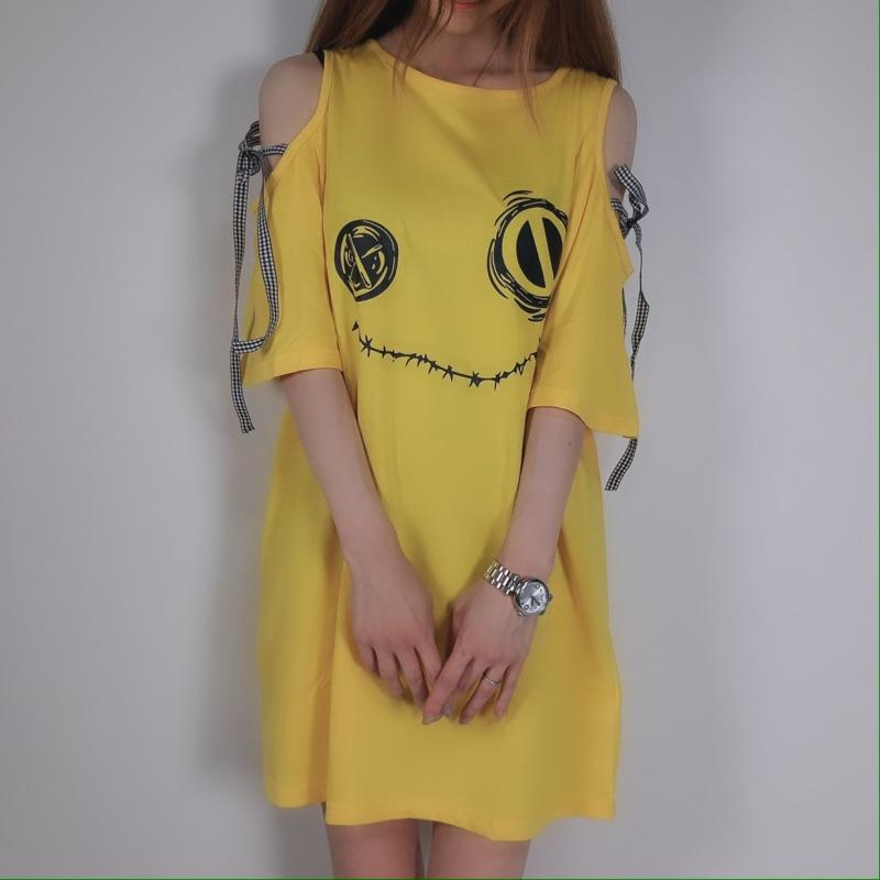 NieR BIG SIZE YELLOW OFF-SHOULDER TOPS【リボン付き】