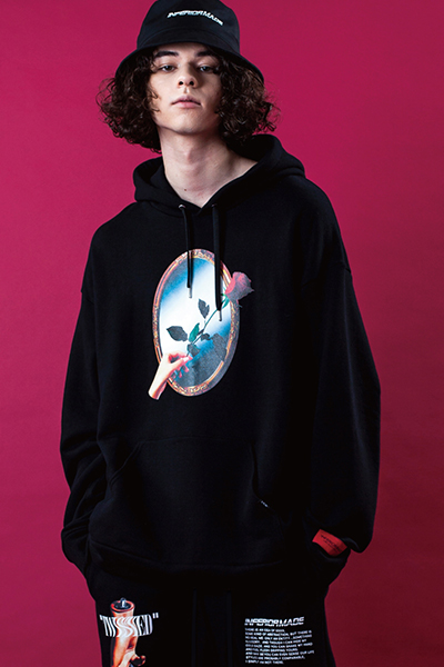LILWHITE(dot) (リルホワイトドット) LW-18AW-S02 -REFLECTED- HOODIE BLACK