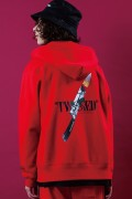 LILWHITE(dot) (リルホワイトドット) LW-18AW-S03 -TWISTED- FRONT ZIP HOODIE RED