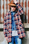 【予約商品】CHORD NUMBER EIGHT CH01-01K5-SL03 HEAVY TWILL CHECK LONG SHIRT BLUE