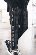 【予約商品】CHORD NUMBER EIGHT CH01-01K5-PL07 SIDE LINE CHECK CROPPED PANTS BLACK&GRAY