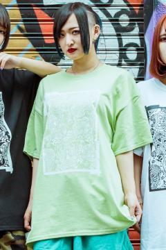 【予約商品】GoneR GR29CT002 Square Mexican Skull T-Shirts Pistachio