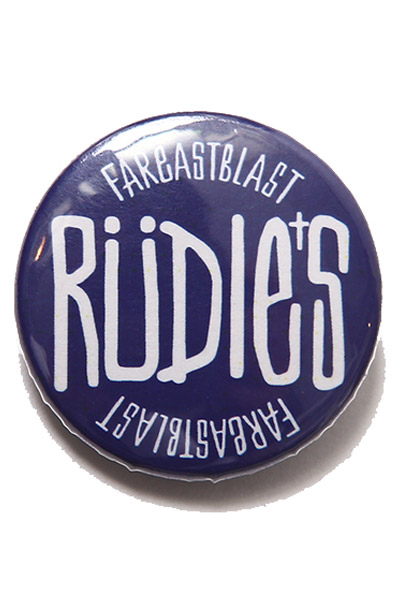 RUDIE'S CAN BADGE DRAWING 	BLUE
