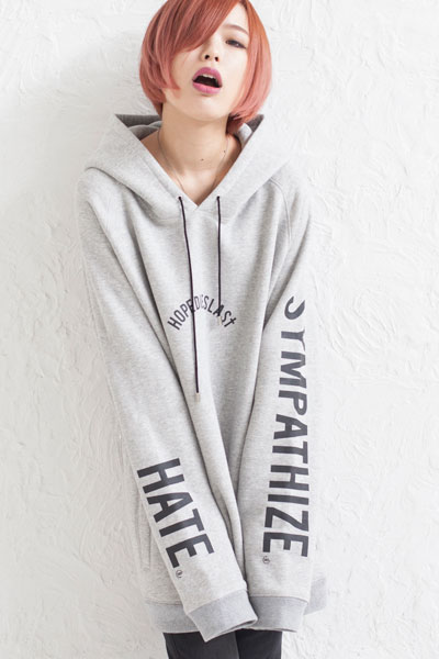LILWHITE. (リルホワイト) -LILARCH-SIDE ZIP HOODIE GRAY