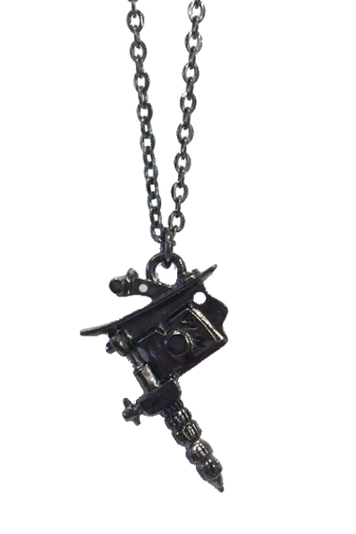 NineMicrophones METAL NECKLACE-TATTOO MACHINE BLK