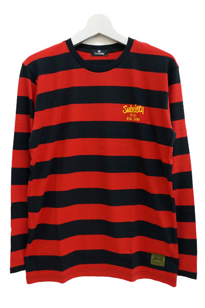 Subciety (サブサエティ) BORDER L/S RED-BLACK