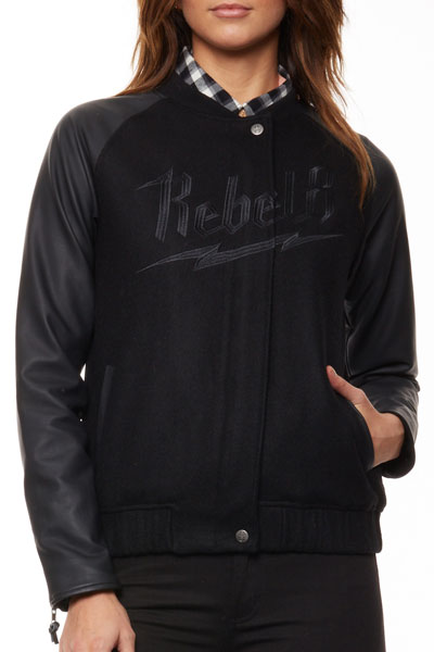 REBEL8 WOMENS BOLTED VARSITY JACKET