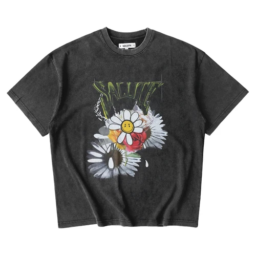 SALUTE WASHED FLOWER VINTAGE TEE BLACK