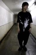 ガリュウホンポ 鹿Tシャツ 黒×白