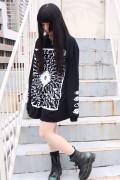 ガリュウホンポ 円周率ロングTシャツ改 黒×白