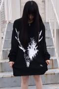 ガリュウホンポ 鹿ロングTシャツ改 黒×白