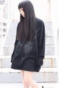 ガリュウホンポ 鹿ロングTシャツ改 黒×黒