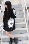ガリュウホンポ 刻目ロングTシャツ 黒×白