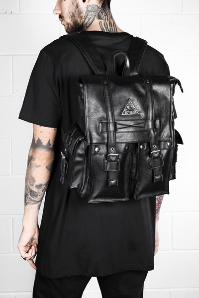 DISTURBIA CLOTHING FAUX LEATHER ALL SEEING BACK PACK