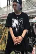 ガリュウホンポ 山羊オーバーカットソー 黒×白