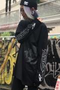 ガリュウホンポ 闇ロングTシャツ 黒×白