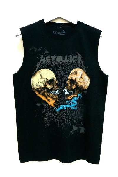 METALLICA 2 Skulls-Sleeveless Muscle -Black t-shirt