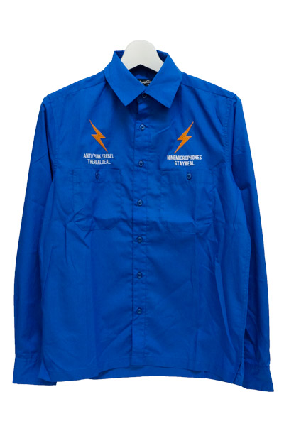 NineMicrophones WORK SHIRT L/S-ANTI- BLUE