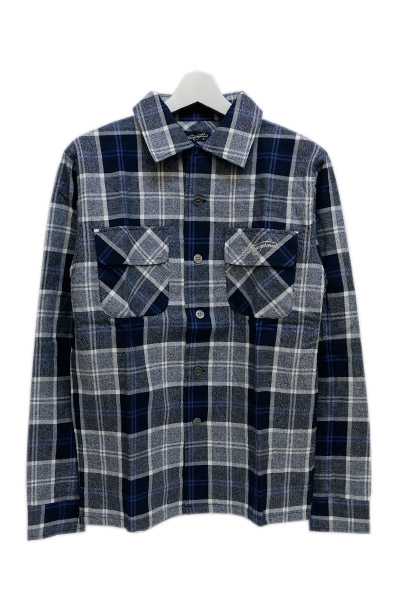 NineMicrophones TWIST CHECK SHIRT L/S NAVY